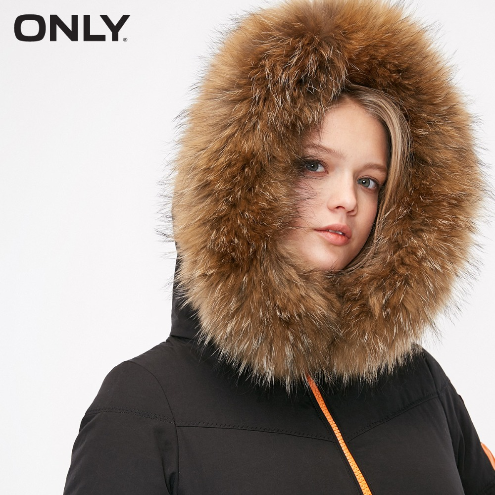 ONLY  Womens' Winter Duck Down New Long Fur Collar Hooded Sports Down Jacket Warm Suede Cap Pocket Snap Closure|118412516