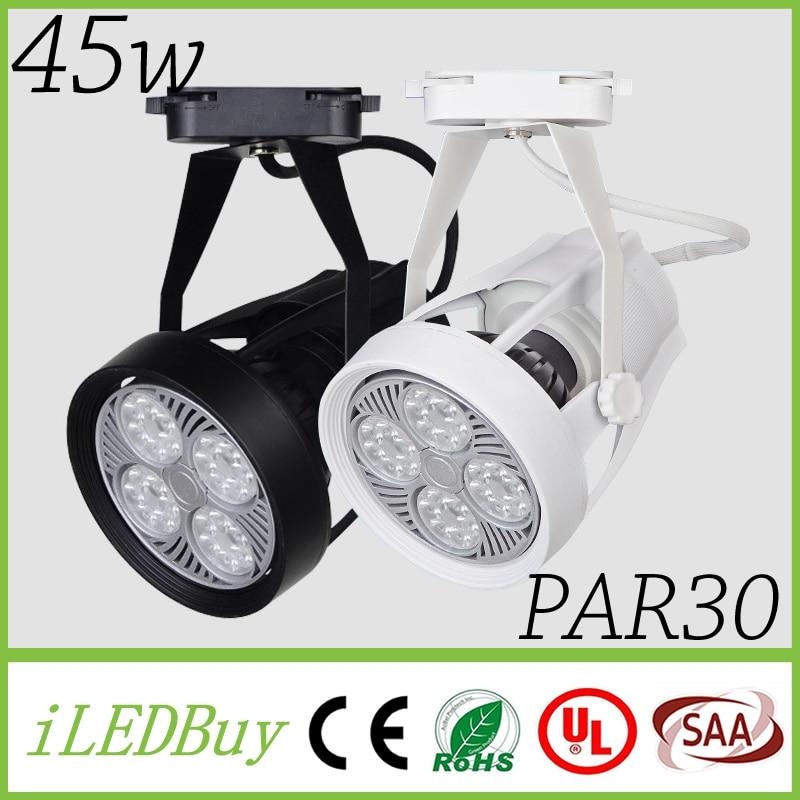 modern black white shell led track light 45w spotlights lamp lights tracking or ceiling mounted lighting ceiling mount track lighting