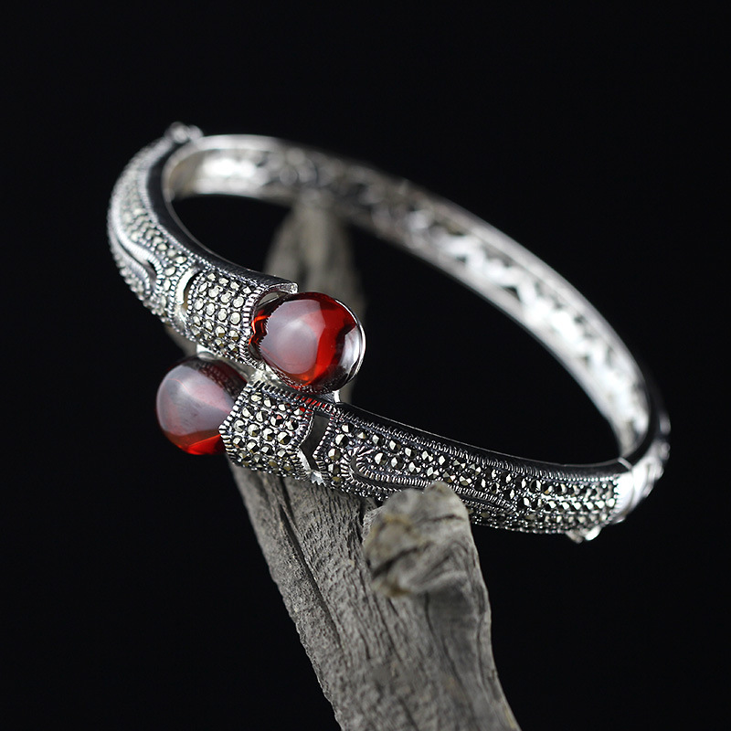 silver ornaments ethnic wind seiko atmosphere ms high-ranked imperial concubine breadwinners pomegranate red bracelet 2018 limited hot sale no bangle ms character items s925 pure ornaments ethnic atmosphere wind lotus pomegranate bracelet wang