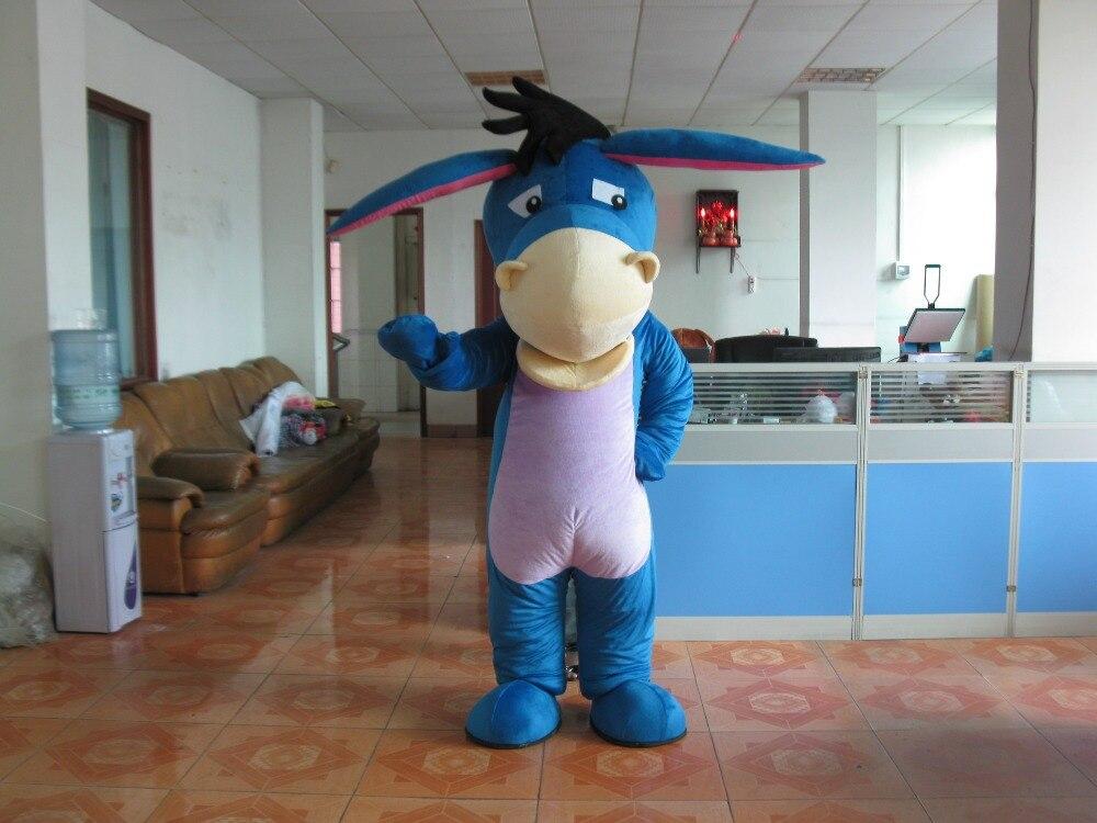 2017 adult Blue Eeyore Donkey Mascot Costume Winnie Bear Friend Donkey Halloween gift costume Ship to your Door