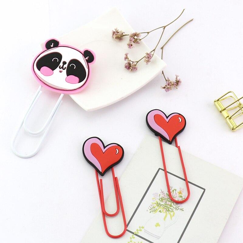 TUTU Big Hotsale Panda Heart Binder Clips Notes Letter Paper Clip Office School Supplies Bookmark Promotional Gift H0245