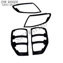 MISURA per ford ranger accessori ABS matte black front luci di coda riguarda la disposizione per T6 2012-2014 car styling coperchio della lampada posteriore