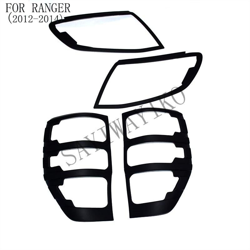 FIT pour ford ranger accessoires ABS mat noir avant feux arrière couvre l'équilibre pour T6 2012-2014 car styling arrière couvercle de la lampe