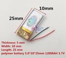 501225 511124 501025 hot koop kleine batterij 501225 3.7 V 120 mAh lipo batterij voor digitale producten