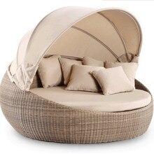 Садовая мебель плетеная кровать для улицы королевская круглая кровать