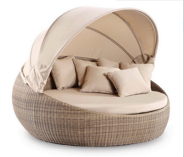 2017 muebles de jardín de mimbre día cama real al aire libre cama ...