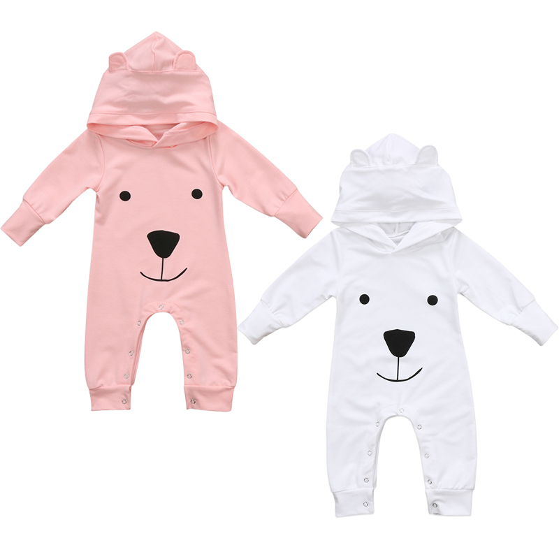 Toddler Kids Baby Girl Boy Cartoon Long Sleeve Hooded Jumpsuit Romper Outfits