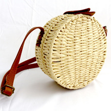 Round Straw Beach Bag Vintage Women Handbags Woven Shoulder Circle Rattan Bags Female Ladies Summer Vacation Casual