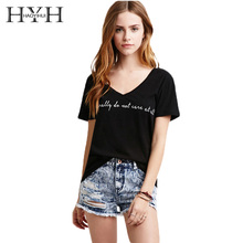 HYH HAOYIHUI 2018 Summer Fashion Women T-shirt Letter Print Short Sleeve V-neck Brief T-shirt Sexy Streetwear Casual T-shirt