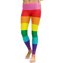 d65b8ad0918 3D printed sweet Rainbow Striped harajuku gothic sexy plus size high waist  push up fitness workout leggings women pants