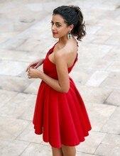 Robe de soriee Charming Red Puffy Kurze Brautkleider One-Shoulder Satin Heimkehr/Cocktailkleid Bling Mädchen Partei Kleid 2017