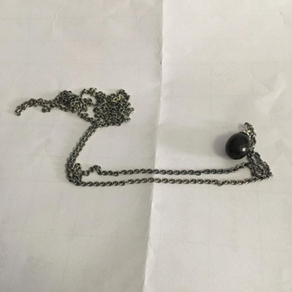 Noir Pendentif Collier De Onyx Pierres Fit Troll Européenne Charmes 925 En Argent Sterling Perles DIY Bijoux Cadeau Pour Femme - 4