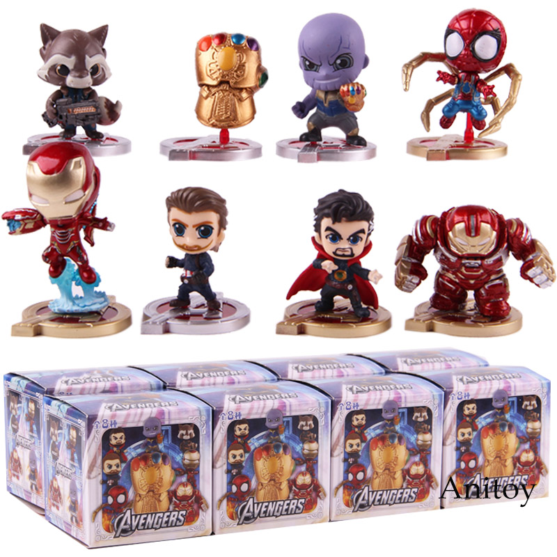Avengers Infinity War Thanos Glove Hulkbuster Iron Man Captain America Spiderman Doctor Strange Action Figure PVC Toys 8pcs/set single sale super heroes doctor strange iron man captain america spiderman bricks building blocks children gift toys xh 825