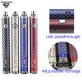 10pcs1600mAh EVOD e cigarro EVOD bateria Torção III Tensão Ajustável 3.3 V-4.8 V vs Evod torção II USB passar através de vaporizador