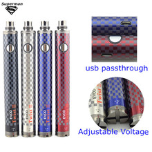 10pcs1600mAh EVOD e cigarette battery EVOD Twist III Adjustable Voltage 3.3V-4.8V vs Evod twist II USB pass through vaporizer