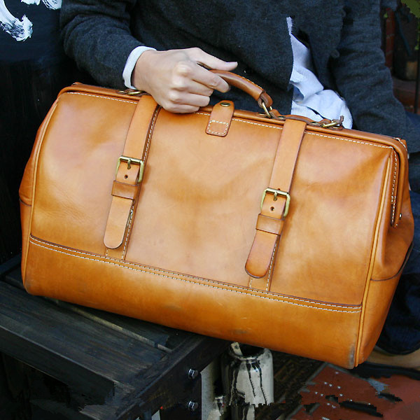 Handmade Leather Goods, Hand-stitched Travel Bag Paper, Paper Type, Pattern, BDQ-22 Gold Travel Bag Version