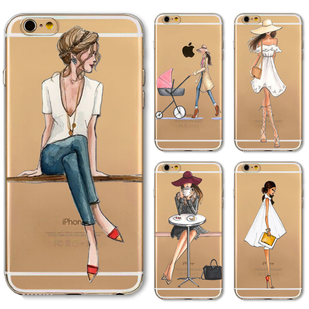 Phone Case Cover For iPhone 4s 5s SE 6 6s 7 6plus Soft Silicon Transparent Painted Dress Shopping Girl Skin Shell Capa Celular