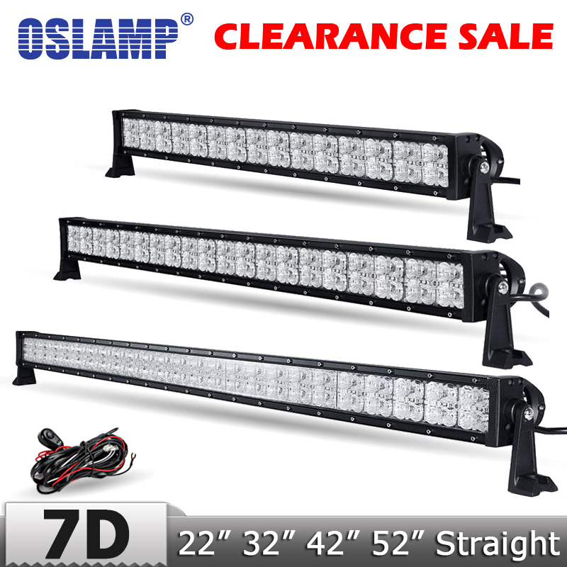 Oslamp Upgrade 7D Lens 22 32 42 52 Straight LED Light Bar with DRL CREE Chips Offroad Spot/Combo Led Work Light Truck 4x4 oslamp triple row 6000k cree chips