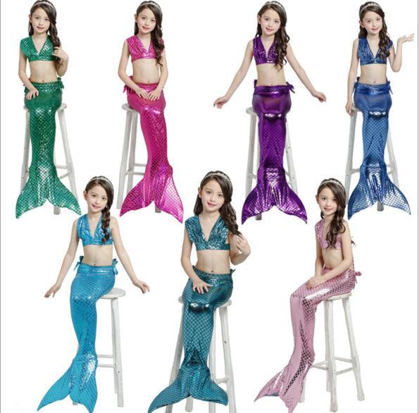 Film enfant fête Halloween fille sirène cosplay costumes avec flipper enfants natation sirène queue costume