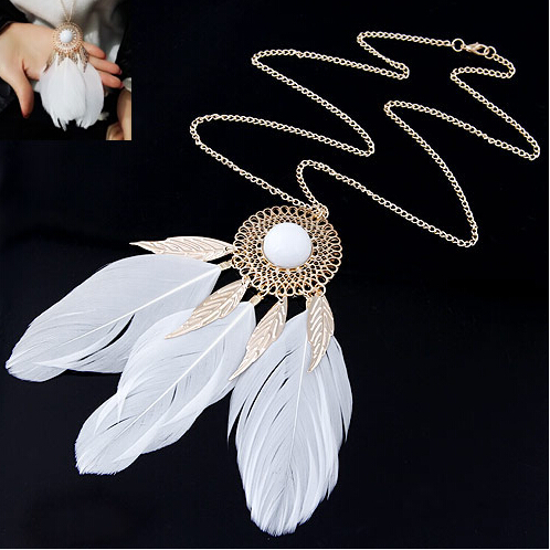 SBY0914 New Style Fashion Charming Feather Round Long Necklaces Pendents accessories Beauty Jewelry
