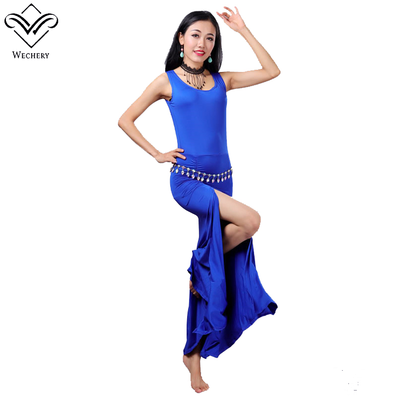 Wechery Long Belly Dancing Dress One Piece Hollow Out Open Sleeveless Dresses Sexy Bandages Black Red Blue Performance Costume