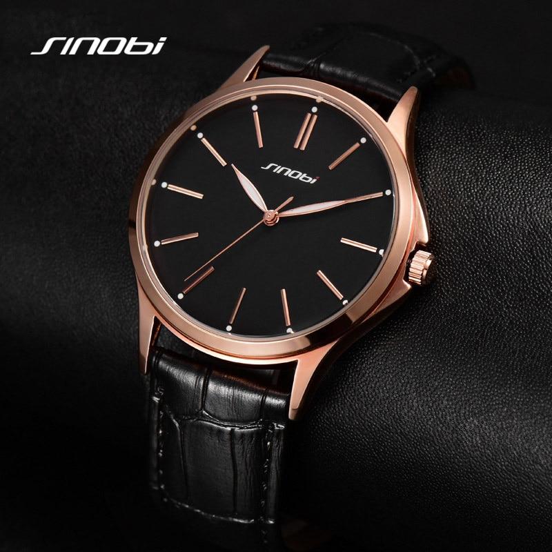 Sinobi moda relojes de hombres de negocios casuales reloj luminoso manos alta calidad correa de cuero relojes resistente al agua