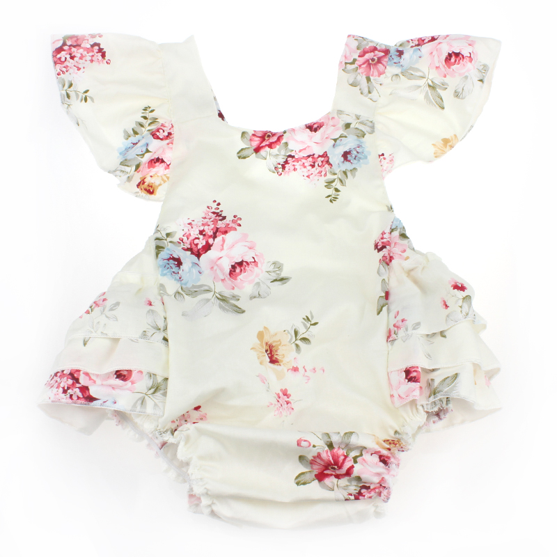 2017 Vintage Newborn Christening Party Baby Girl Clothes,Rosette Cotton Sleeveless One Piece Tops With Baby Romper with headband