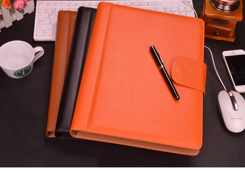 A4 Hasp Lock PU Business Manager Document Bag A4 Leather File Folder Organizer Padfolio With Ring Binder Calculaator 642A