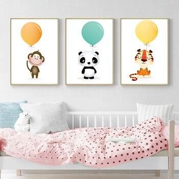Minimalist Watercolour Balloon Animal Canvas - Nursery Decoration