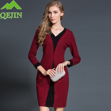 2016 Winter Europe women cotton dresses Long sleeve V neck knitted cotton dress female fashion patchwork