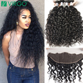 Ear To Ear Lace Frontal Closure With Bundles Wet Wavy Mink 8A Brazilian Virgin Hair Pre Plucked Frontal Weave With Baby Hair
