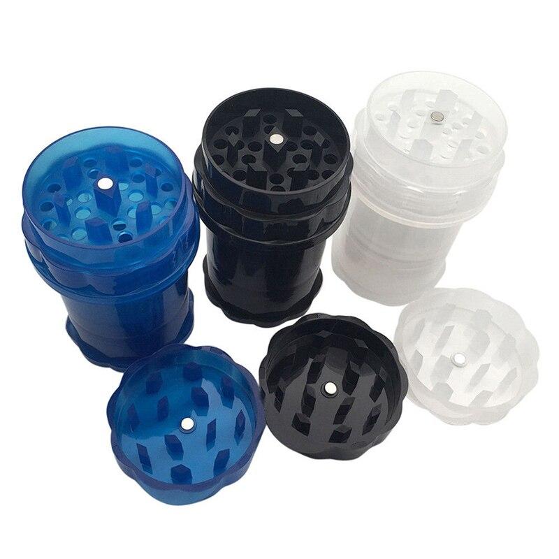 Пластиковая столешница для табачных трав, измельчитель для специй, 4 слоя, случайный цвет, травяная курительная дробилка для специй, прозрач...