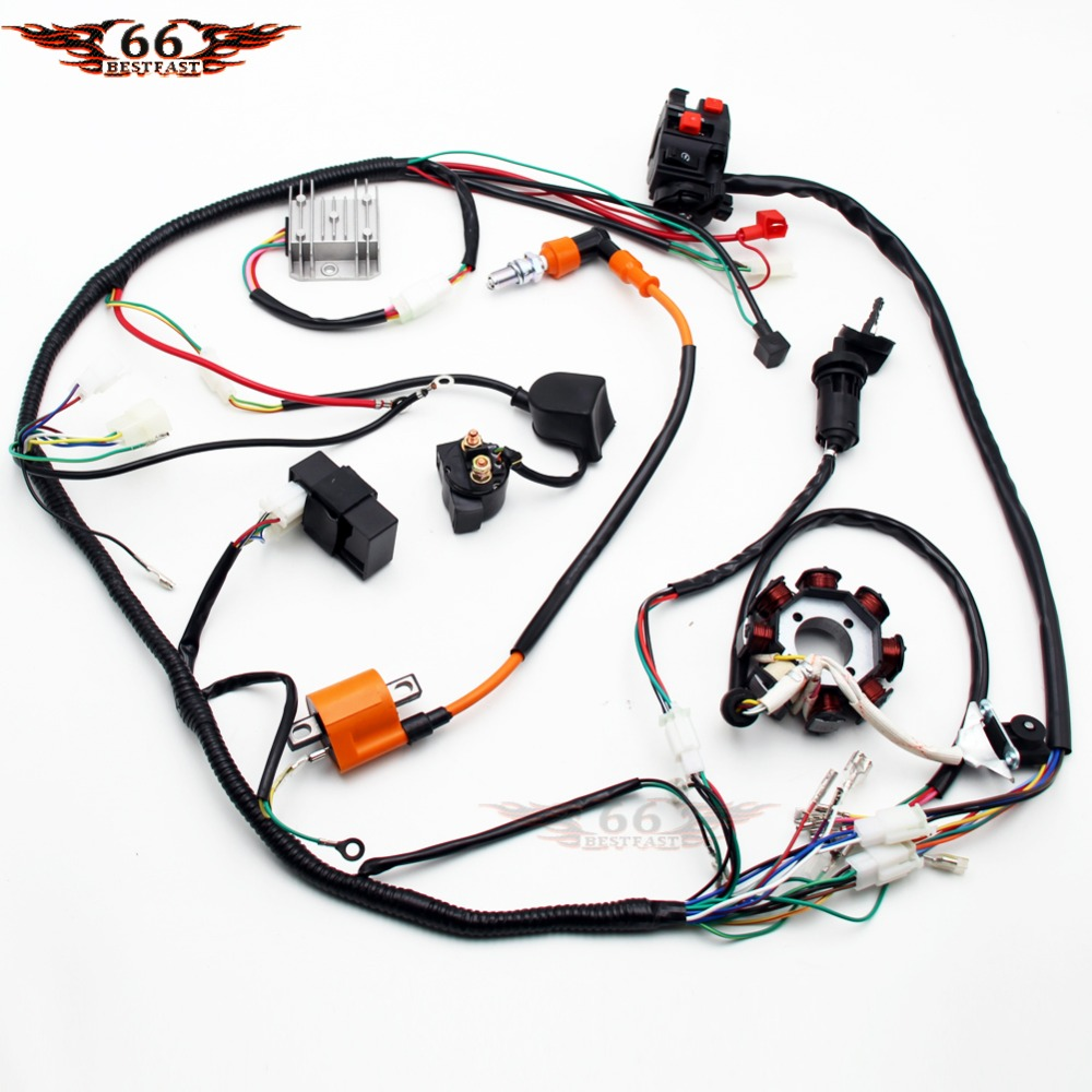 200cc 250cc Quad Full Electrics Wiring Harness Cdi Coil D8ea Electric Wire Loom Stator Assembly For 150cc 300cc Atv