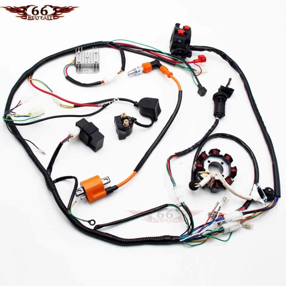 full electric wiring harness wire loom cdi stator assembly for 150cc 200cc 250cc 300cc atv quad [ 1000 x 1000 Pixel ]