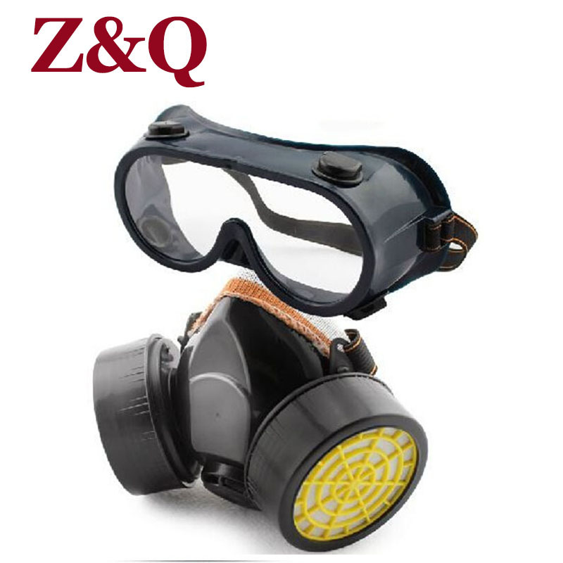 Z&Q Dual-valve gas masks protective respirator painting mask dust spraying mask formaldehyde pesticides anti second smoke R5514 7502 of reusable respirator mask gas mask portable respirator protective fire masks