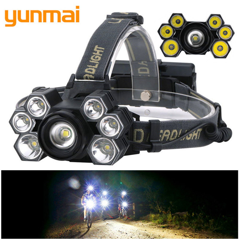 yunmai T6 XPE LED HeadLamp 5-Mode Zoomable Headlight 18000LM USB Charger Head Torch Fishing Camping Flashlight 18650 Battery B4
