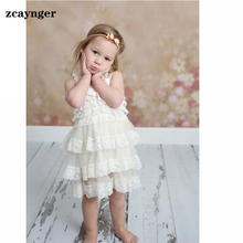 Girls Clothes 2016 New Lace Vest Dress Flower 2-8 Age Toddler Infant Party Wedding