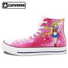Pink Converse Chuck Taylor Womens Mens Shoes Custom Sailor Moon Design Hand Painted Shoes Girls Boys Sneakers Cosplay Gifts