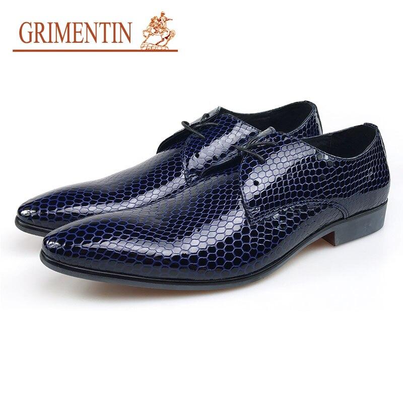 GRIMENTIN font b Men b font Dress font b Shoes b font Luxury Patent Leather Blue