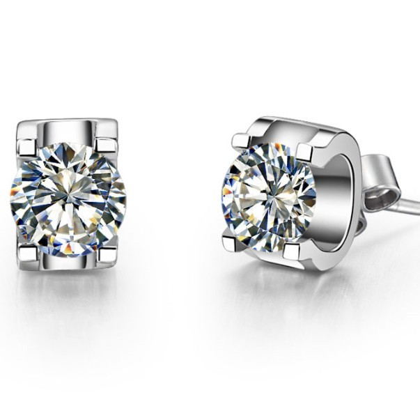 Au750 Earrings Diamond Gold White Brilliant-Forever Solid 18K Engagement Oxhead-Style