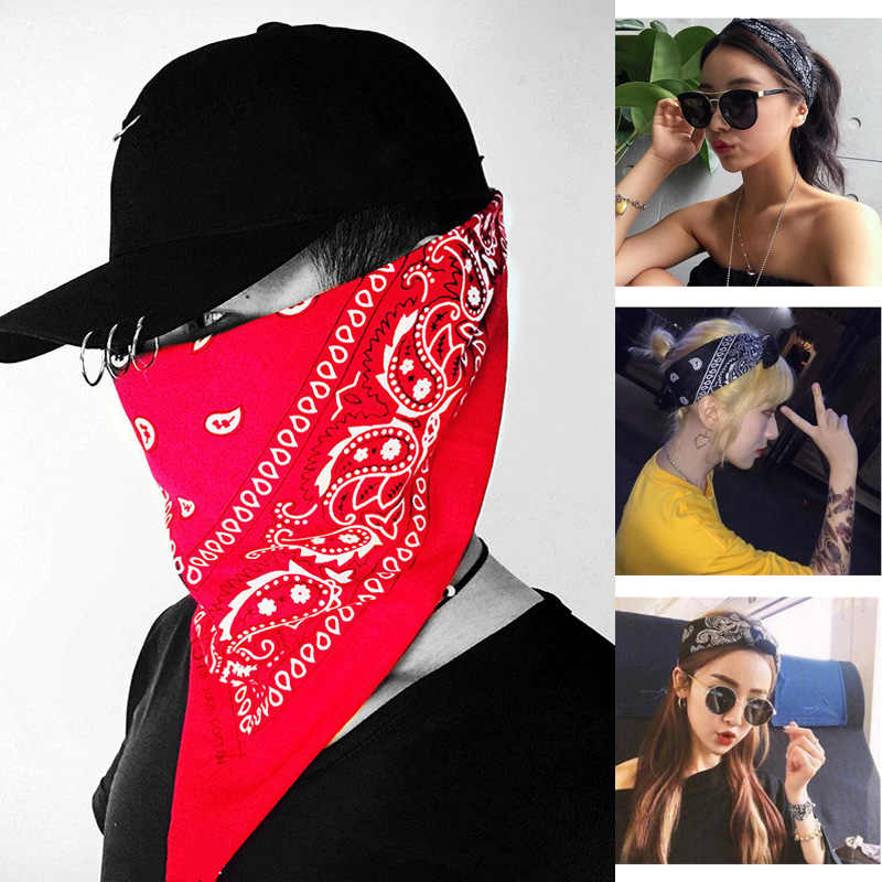 Fashion 1PC Hot Hip Hop Snowflake Flame Skull WomenPrint Headband Men Cool Scarf Square Masked Bandana Unisex Hair Accessories