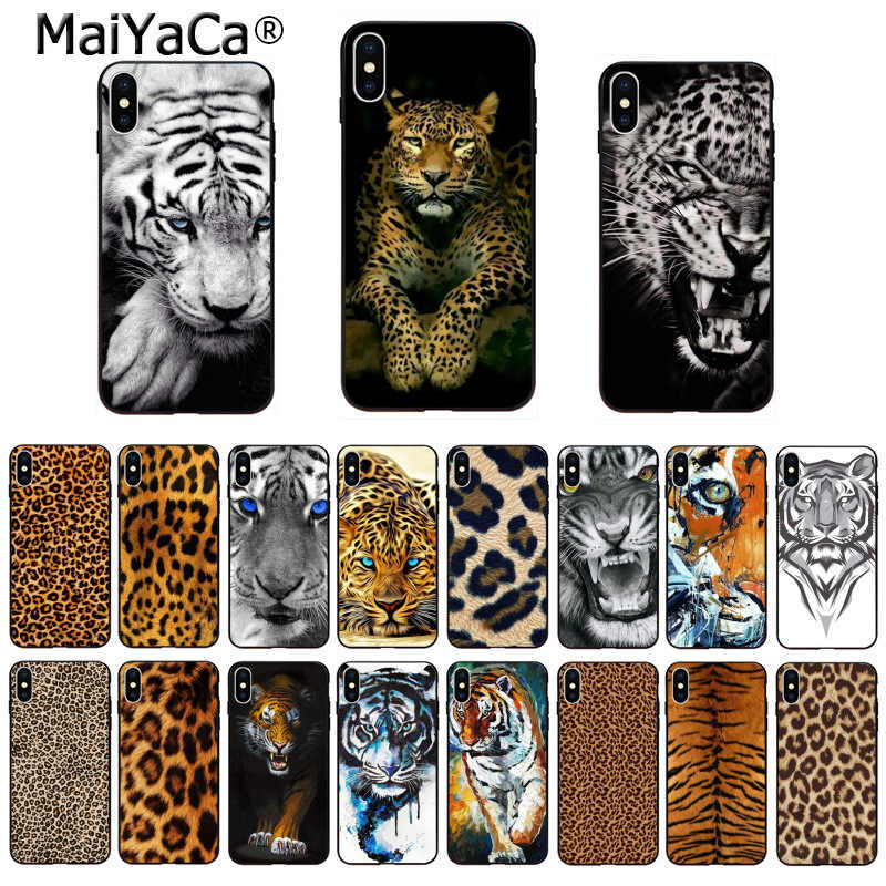 MaiYaCa Soft TPU silicone Phone Accessories Cover Tiger Leopard Print Panther Photo for iPhone 8 7 6 6S Plus 5 5S SE XR X XS MAX
