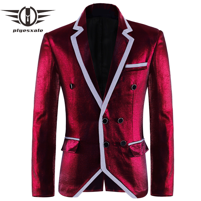 Plyesxale Brand Double Breasted Blazer Men 2018 Slim Fit Mens Velvet Blazers Designer Rose Red ...