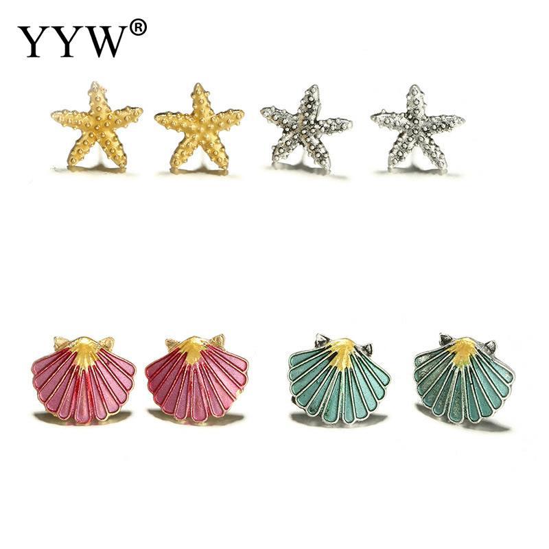 4 Pairs/Set Starfish Shell Multicolored Stud Earrings For Women Wedding Bohemian Summer