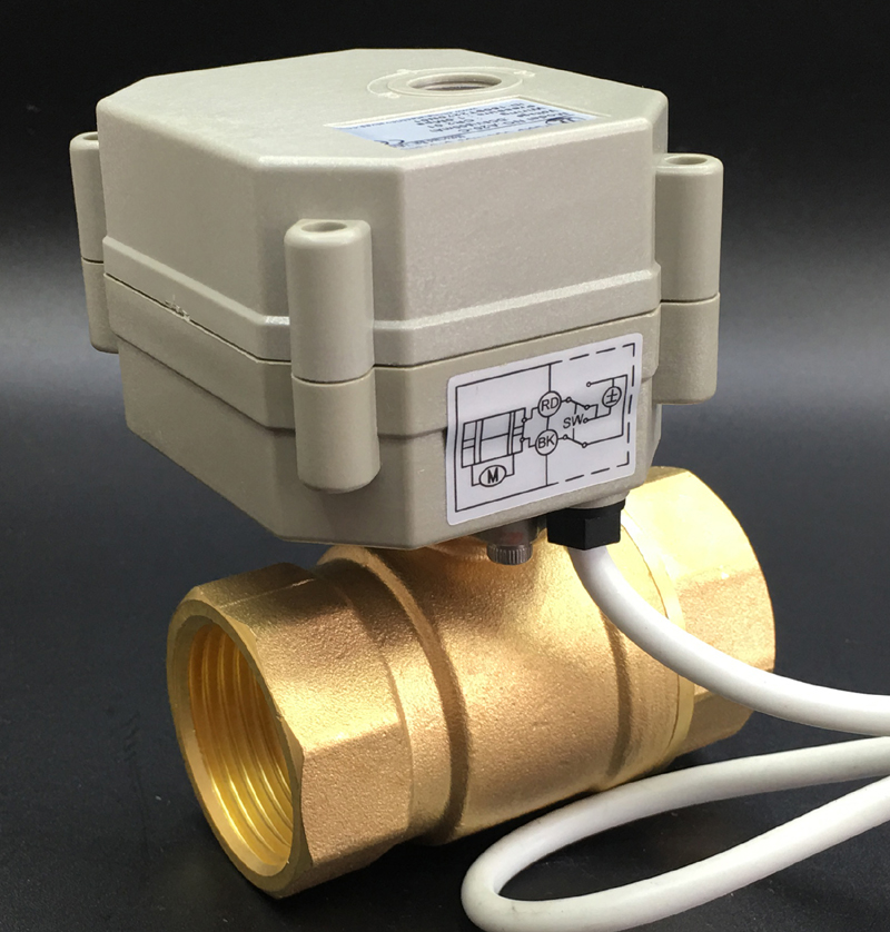 AC/DC9 24V 3 Wires 7 Wires Metal Gear Motorized Valves Brass 1'' TF25 B2 Series 2 Way DN25 Electric Shut Off Valves