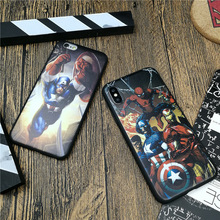 Marvel Avengers case for iphone X 10 8 7 6 6s plus 5 5s se luxury soft silicone phone cover Captain iron Man coque