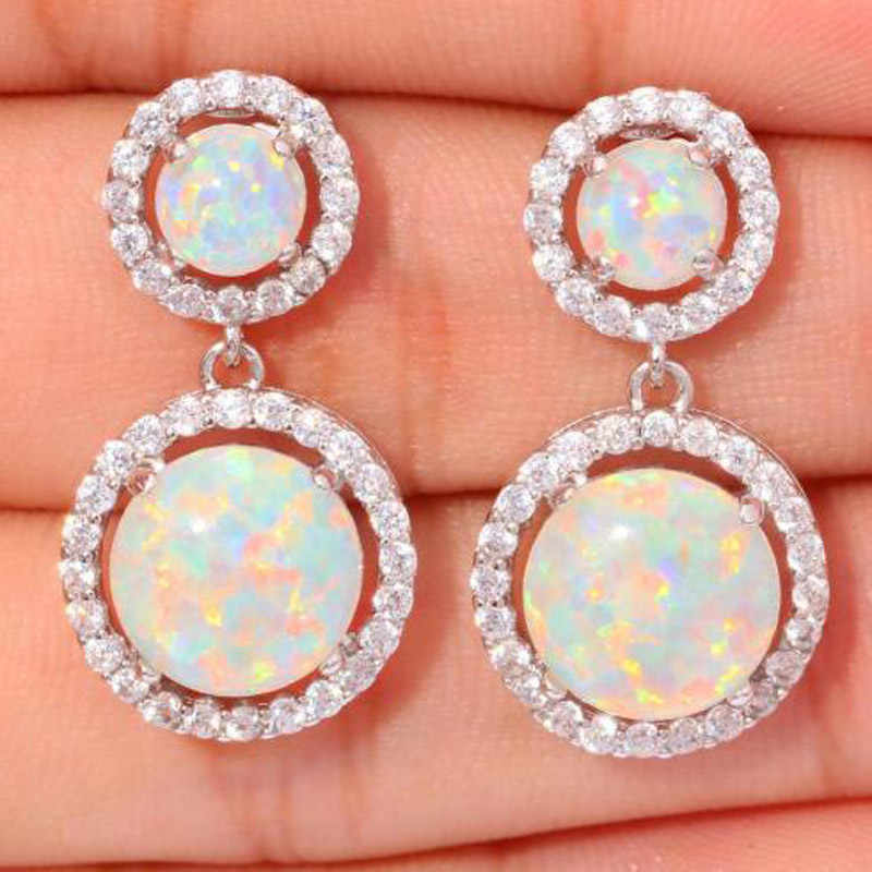 Modyle Round White Fire Opal Earrings For Women CZ Stone Silver Color Drop Earrings Wholesale Jewelry