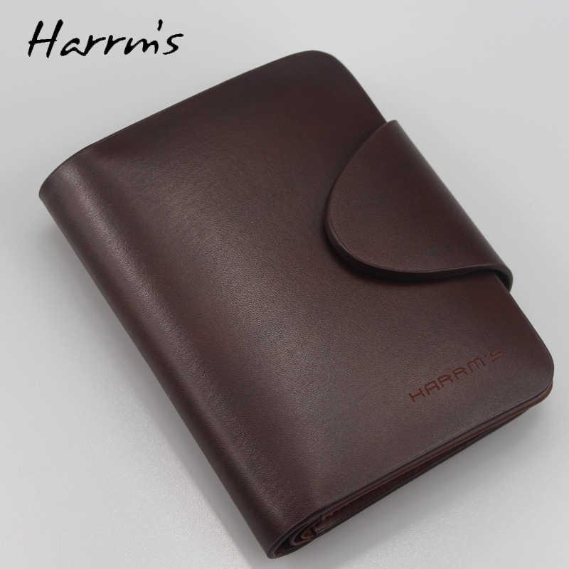 72632778fa15 ... Harrms известные бренды натуральная кожа мужские кошельки модные  коричневые короткие Роскошные Мужской кошелек высокого качества с ...
