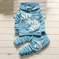 Autumn 2016 Children Clothing Sets Letters Printed Hoodie Long Sleeve Kids Clothes Set Boys Girls Hooded Coat + Pants 2 Pcs Suit