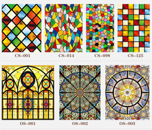 30 new styles Custom electrostatic frosted stained glass window film, church home foil stickers, PVC self-adhesive films